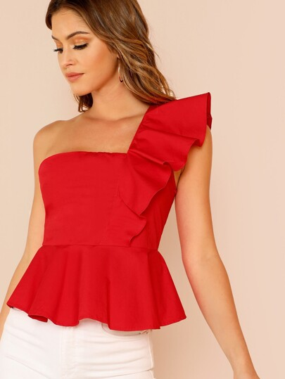 One Shoulder Ruffle Trim Crop Top RED