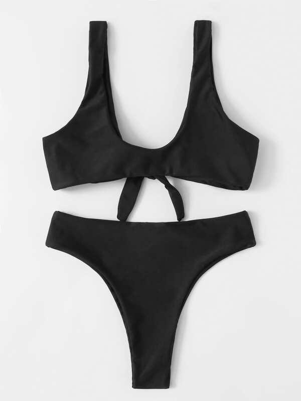 7cd29b9bf6 Knot Front Plunging Bikini Set | SHEIN