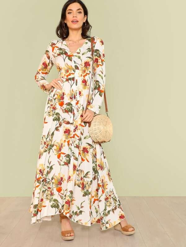 Floral print button up tie waist long sleeve maxi dress off white floral print button up tie waist long sleeve maxi dress off white sheinsheinside mightylinksfo