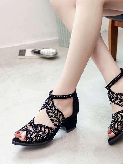 8f162c3390617 Cut Out Ankle Strap Sandals -SheIn(Sheinside)