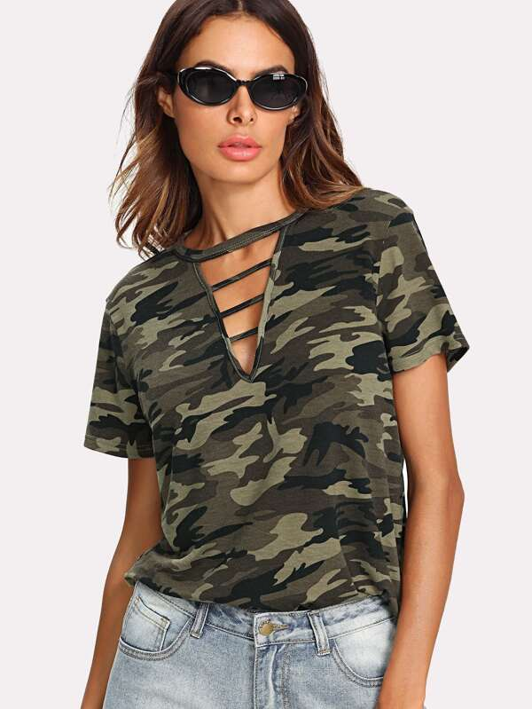 Women Clothing Tops T-Shirts Casual Ladder Cutout Neck Camo Tee