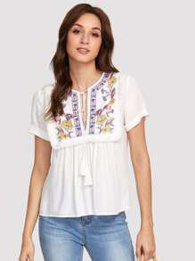 Embroidery Tassel Detail Top