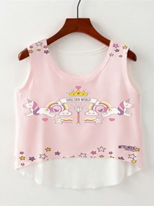 Unicorn Print Dip Hem Top
