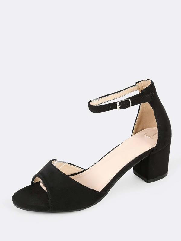 053399a481bf8 Faux Suede Peep Toe Ankle Strap Low Chunky Heel BLACK | SHEIN