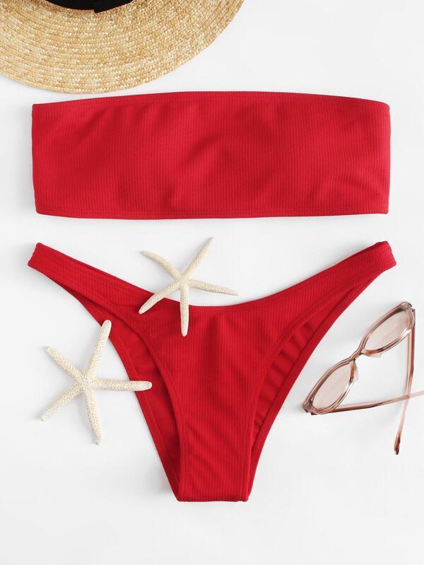 5fbec7f1cb Lace Up Back Bandeau With Ribbed Bikini Set
