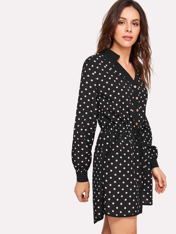 1d3ba0eab8b Drawstring Waist Polka Dot Shirt Dress