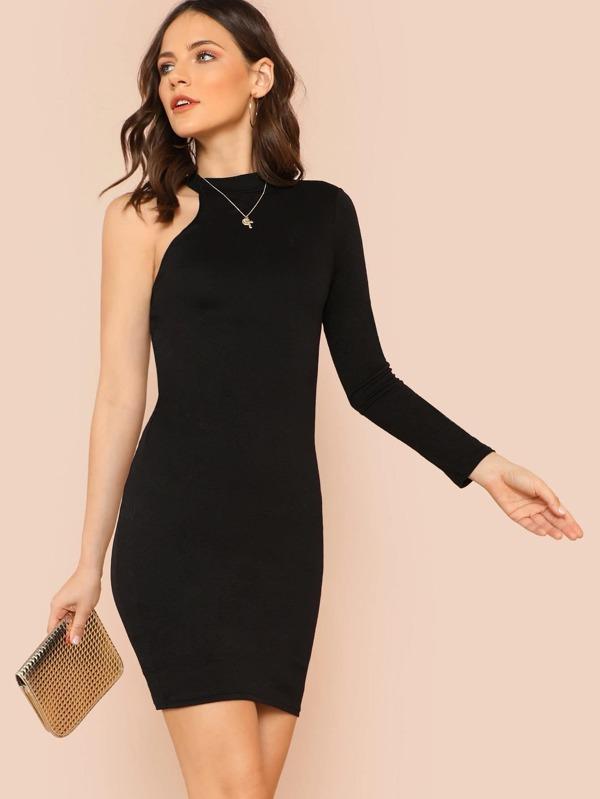 One Shoulder Long Sleeve Dress With High Neckline Black Shein