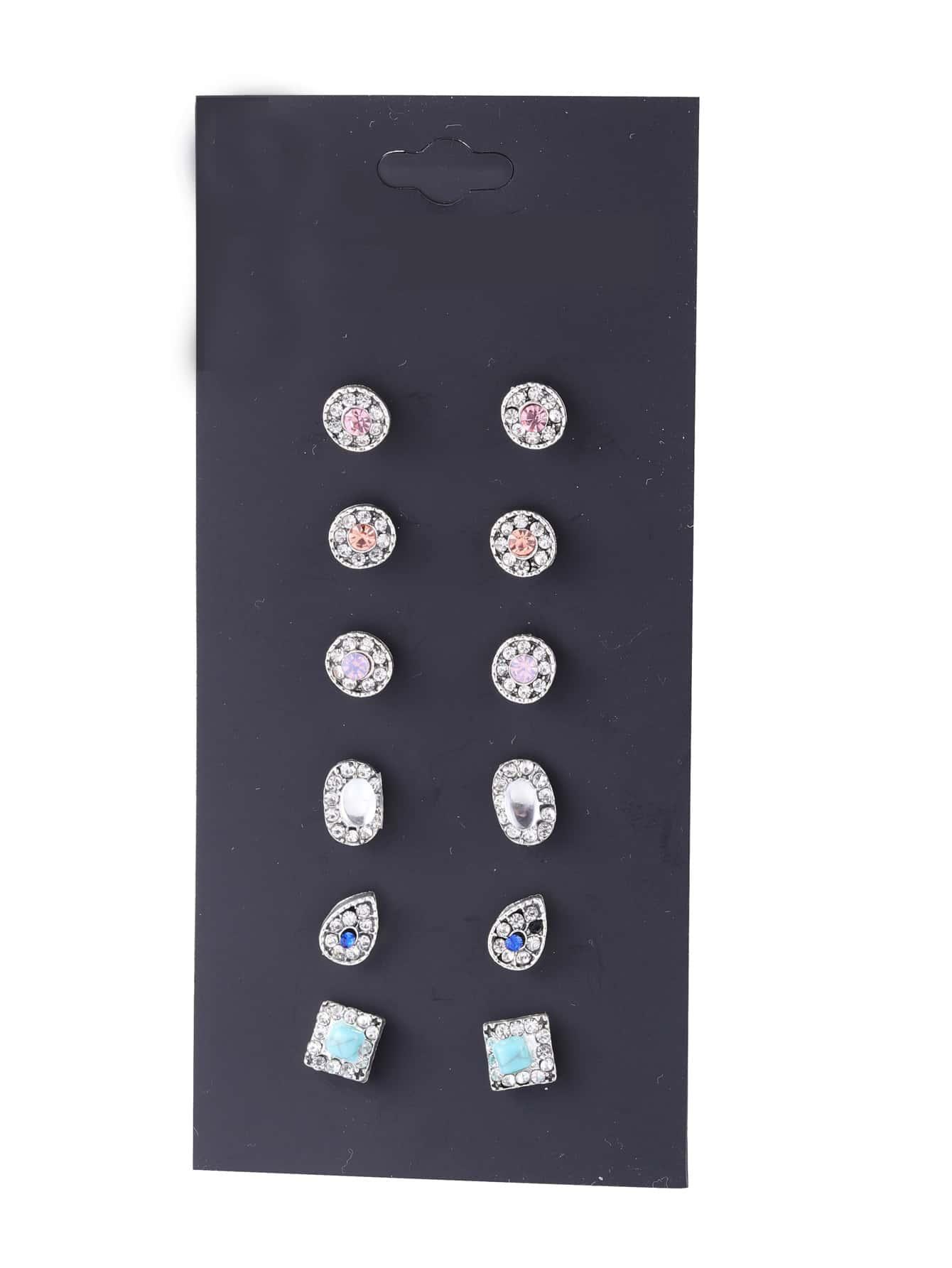 Rhinestone Design Stud Earring SetFor Women romwe