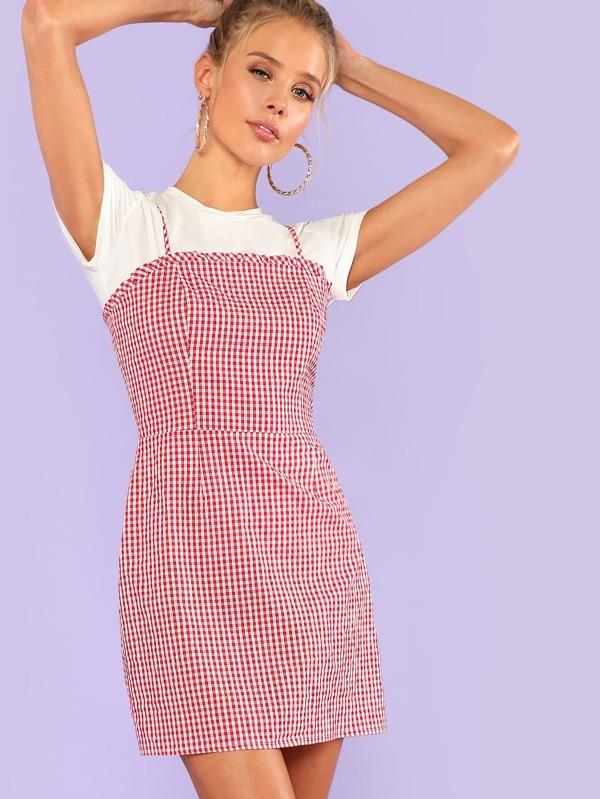 8918e9645e2 Frill Detail Gingham Cami Dress