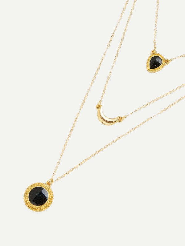 a87117fcf8 Round & Moon Pendant Layered Chain Necklace | SHEIN