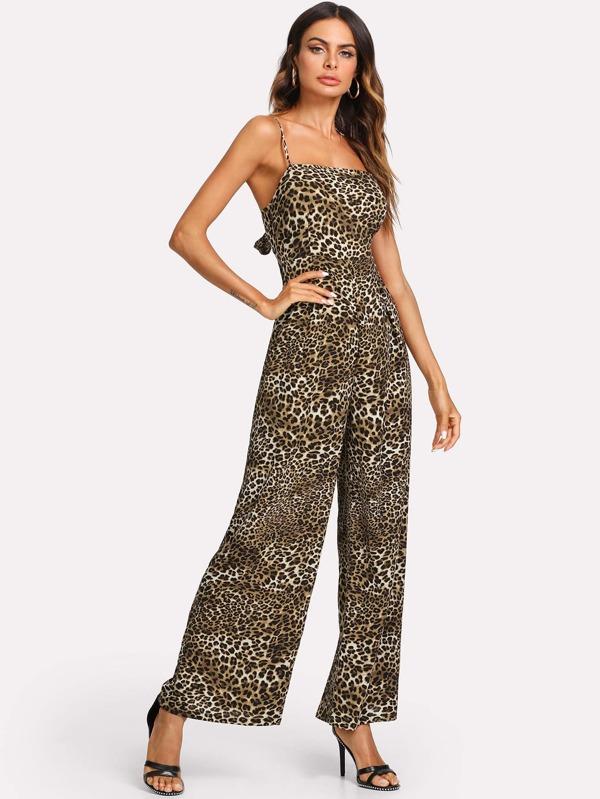 eacb6843d8d Cheap Leopard Print Knot Back Wide Leg Cami Jumpsuit for sale Australia