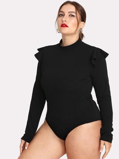 ddc5d0ecb9 Plus Ruffle Embellished Shoulder Solid Bodysuit