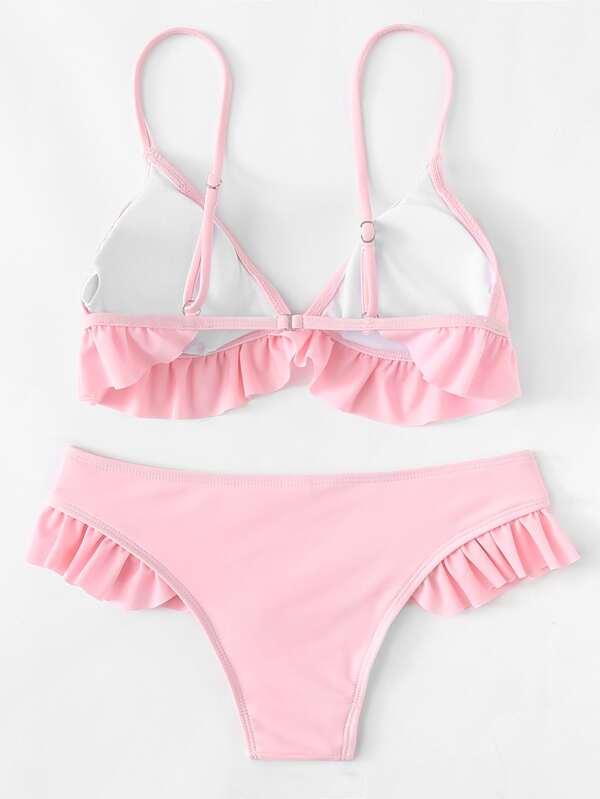 d706793245154 Triangle Top With Ruffle Detail Bikini Set | SHEIN
