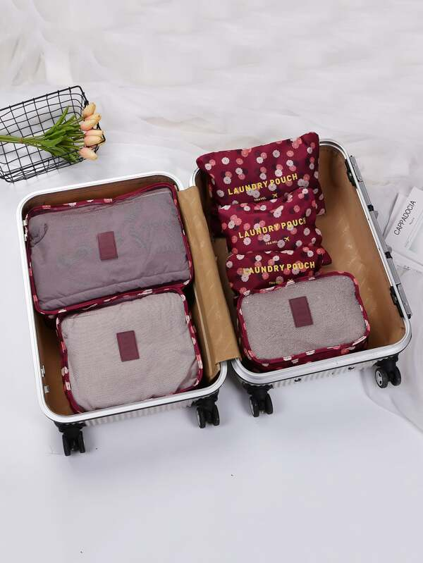 c8a6f53222339 حقيبة تخزين سفر نمط زهرية 6 قطع