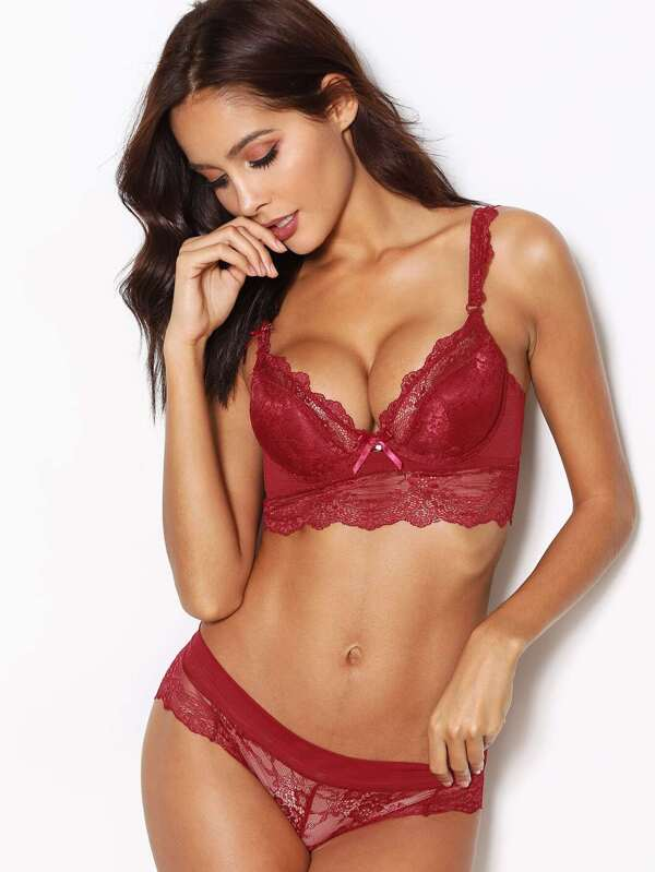 04696c24a Semi Sheer Lace Lingerie Set