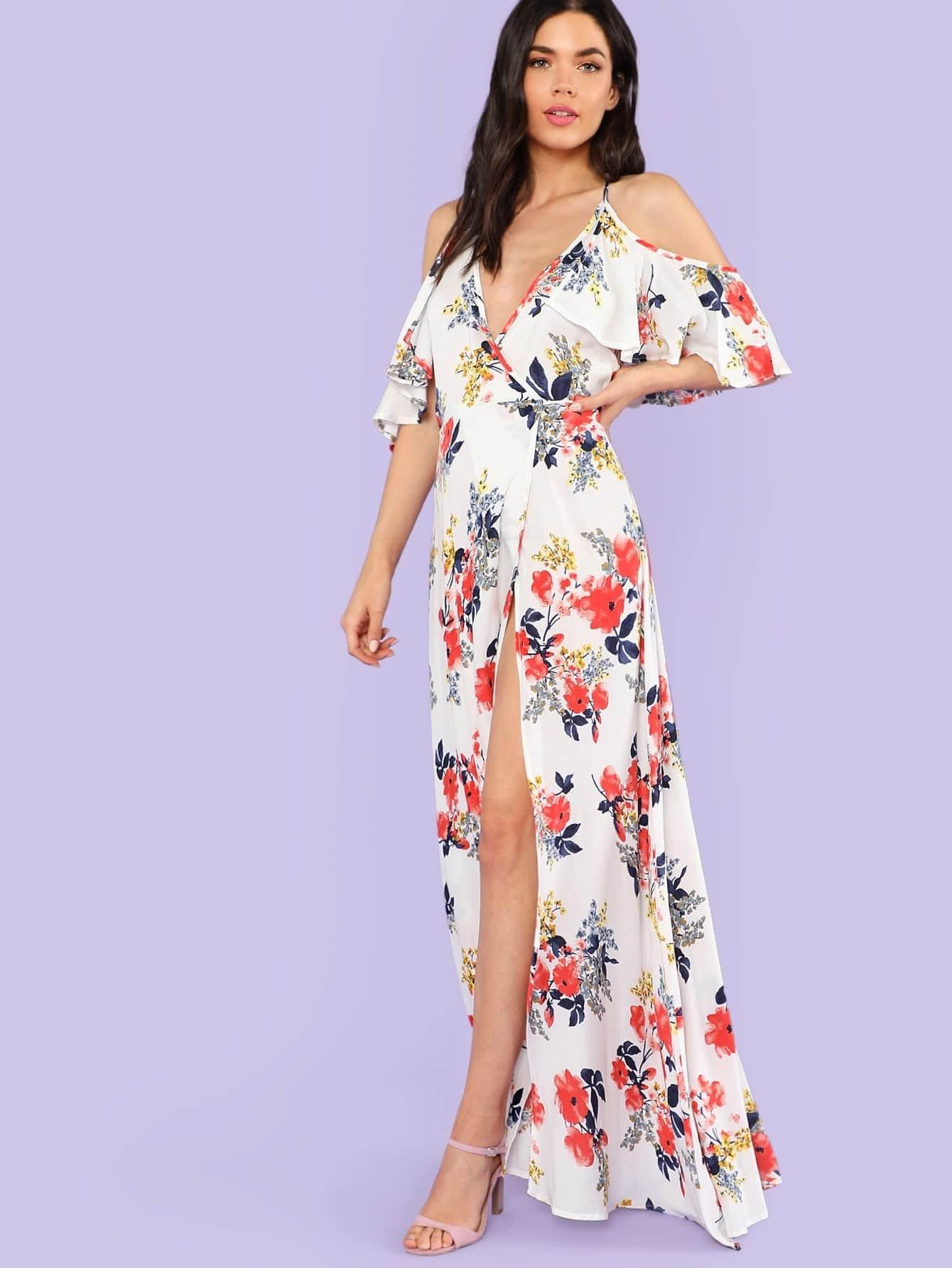 4412853fee Cold Shoulder Floral Print Wrap Maxi Dress OFF WHITE | SHEIN