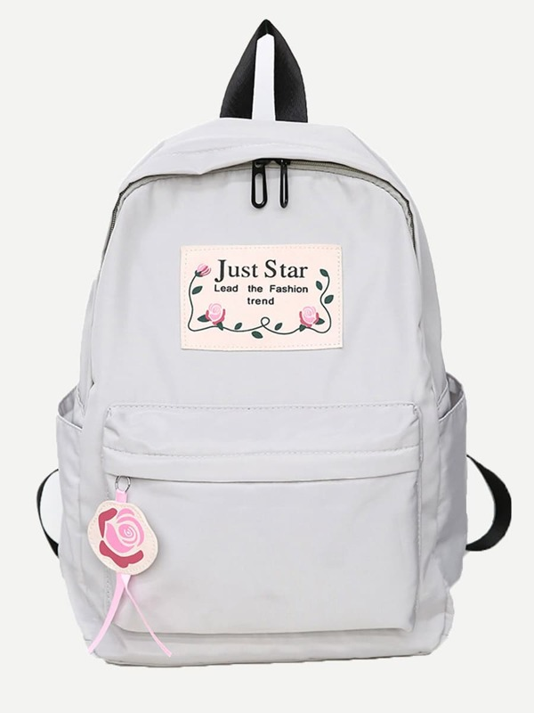 fb65acee4b Slogan Patch Backpack With Flower Charm