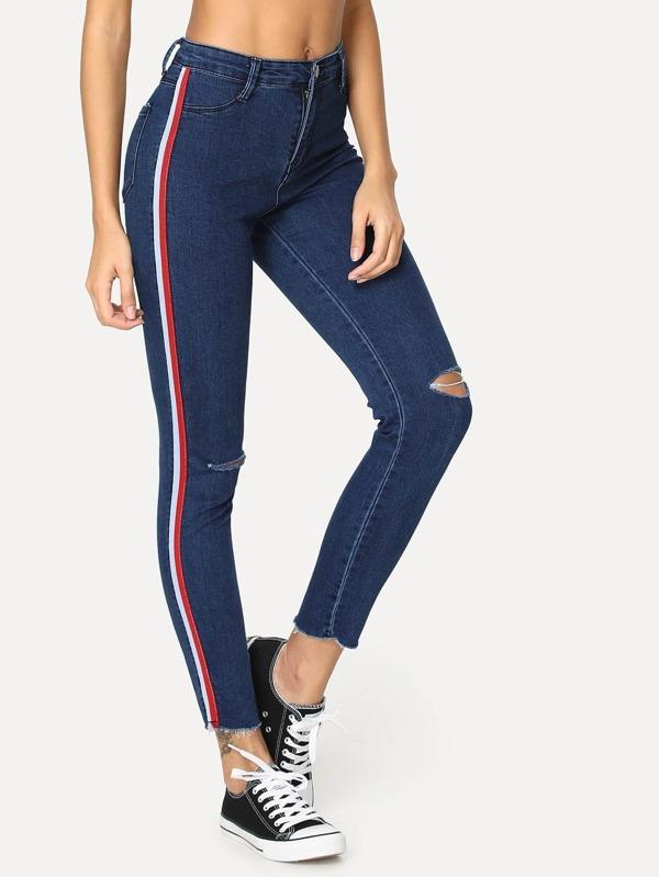e732f87f1c Striped Tape Side Ripped Jeans
