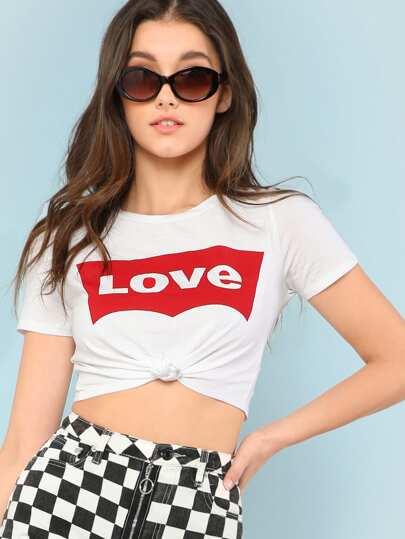 LOVE Print Crop Tee