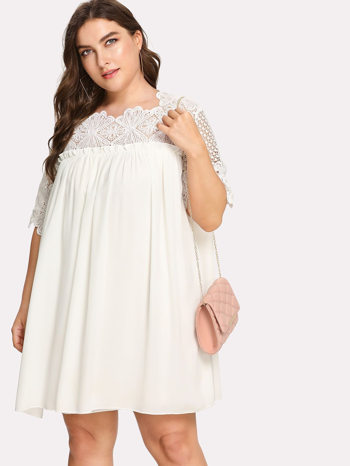 Lace Crochet Frill Detail Smock Dress Shein Sheinside