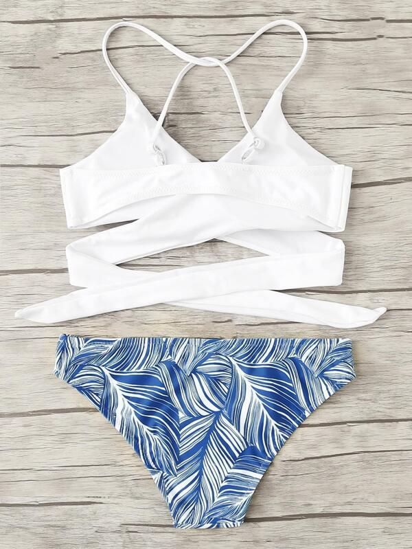 3c2ff4398c7b2 Criss Cross Wrap Top With Leaf Print Bikini Set