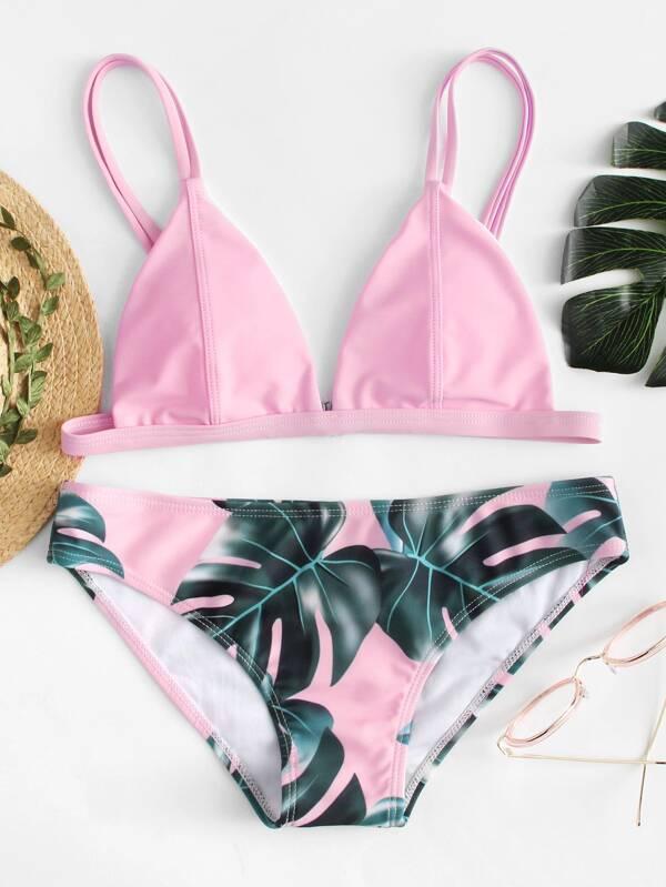 dbb8d38f68b0f Palm Print Bikini Set | SHEIN UK