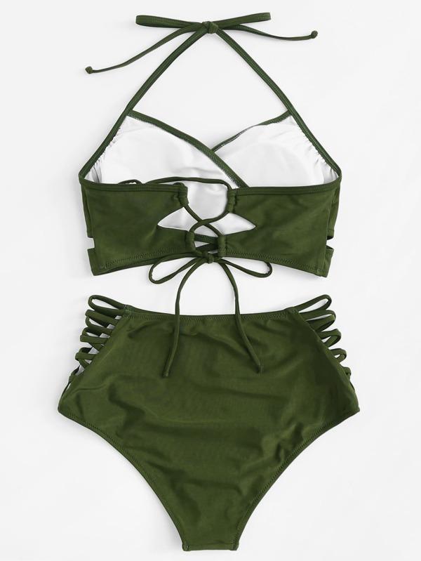 6644e4d459 Halter Wrap Top With Ladder-Cut High Waist Bikini
