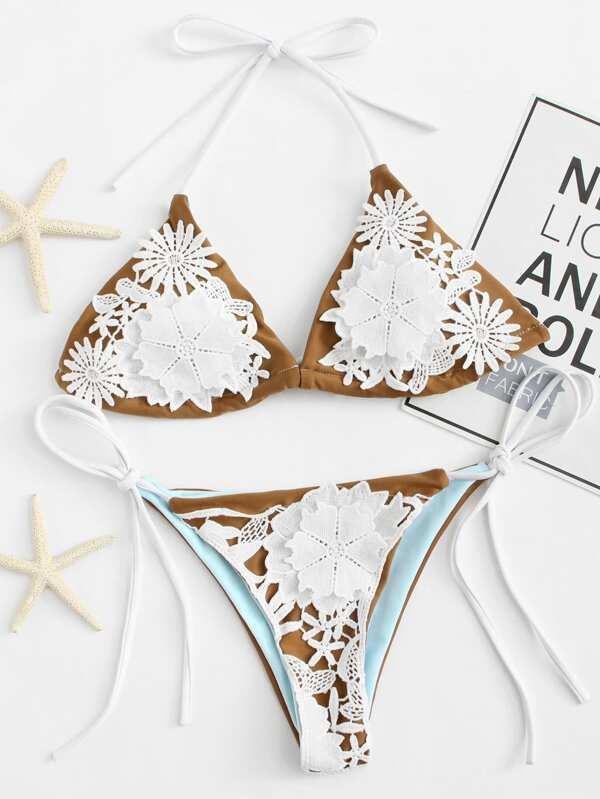 farblich passend exklusives Sortiment das Neueste Bikini Set mit Blumenapplikation