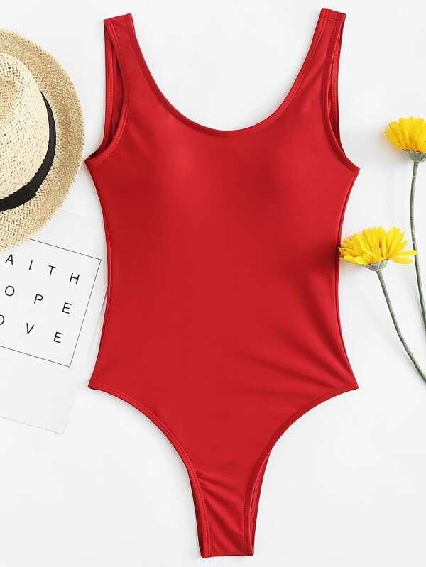 19bc8c8ee2548 Scoop Neck Seam Trim Low Back Swimsuit | SHEIN UK