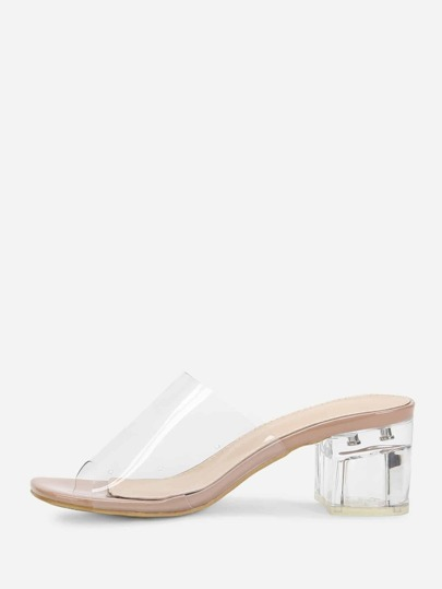 6eb1077ec Chunky Heeled Clear Mule Sandals