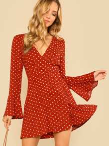 Bell Cuff Split Back Polka Dot Dress