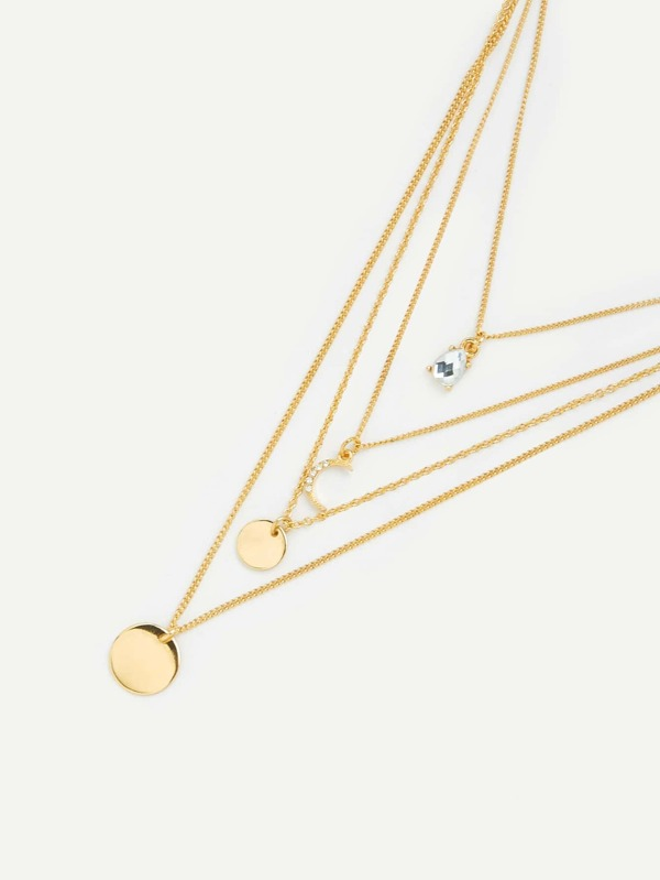 b14f5b351a Moon & Round Pendant Layered Chain Necklace | SHEIN IN