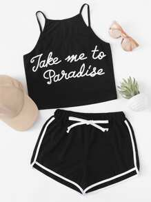 Slogan print Cami With Ringer Shorts
