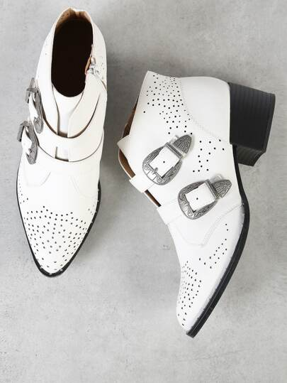 Double Buckle Perforated Pointy Toe Bootie WHITE