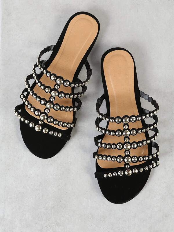 962deb785275e0 Studded Grid Caged Slide Sandal BLACK
