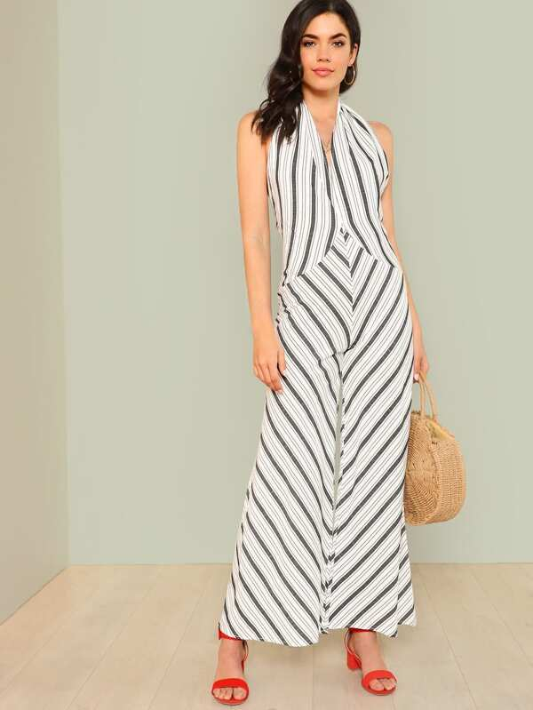 5a219e4e10a Open Back Wide Leg Striped Halter Jumpsuit