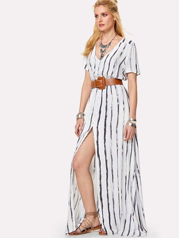 Vestito a strisce con vita a maniche lunghe abbottonata-Italian SheIn( Sheinside) 7debc1dd0b4