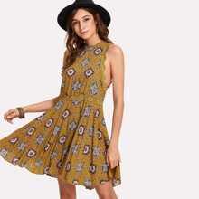 Lace Detail Split Back Geo Swing Dress