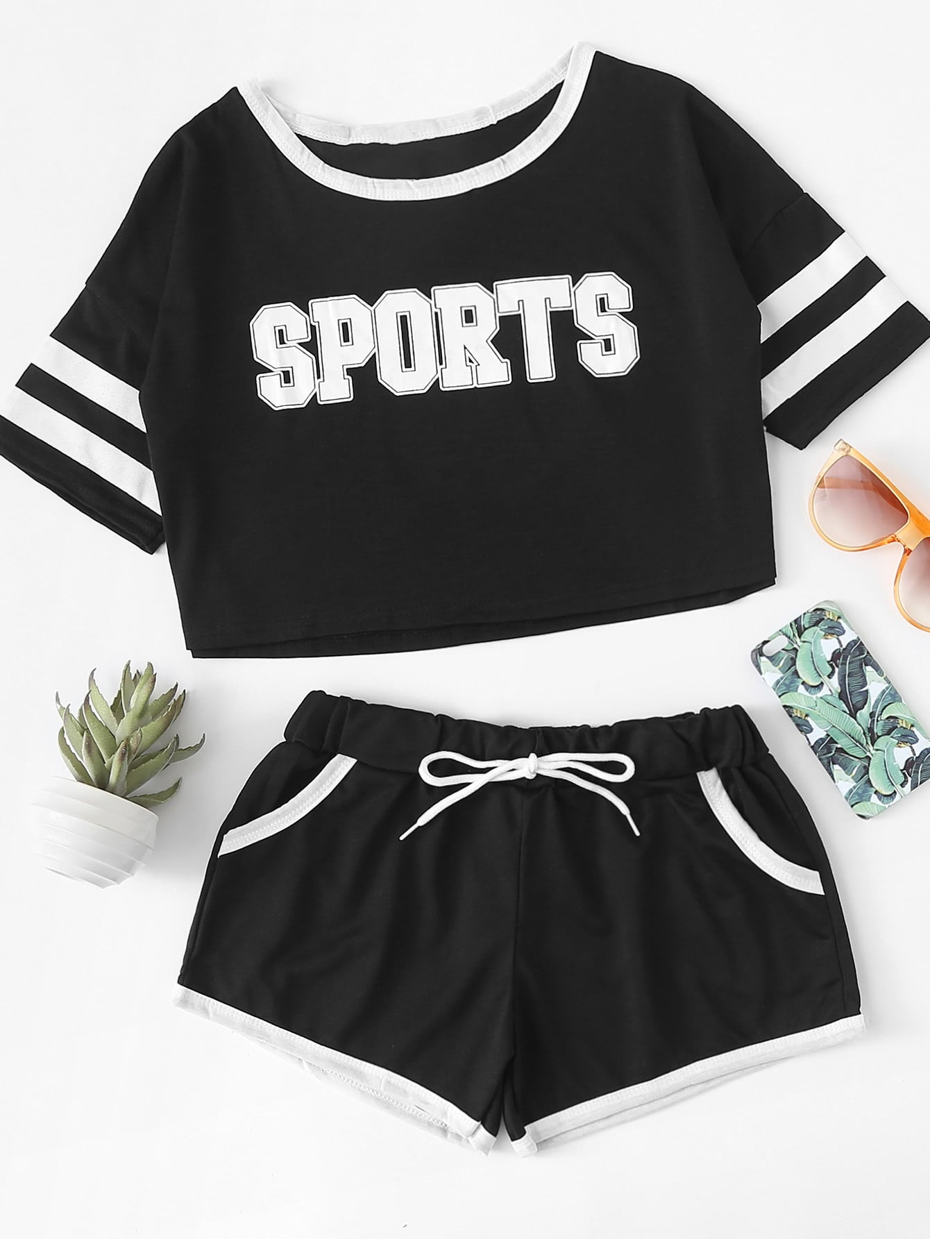 c377ecf494c Letter Print Varsity Striped Tee With Shorts EmmaCloth-Women Fast ...