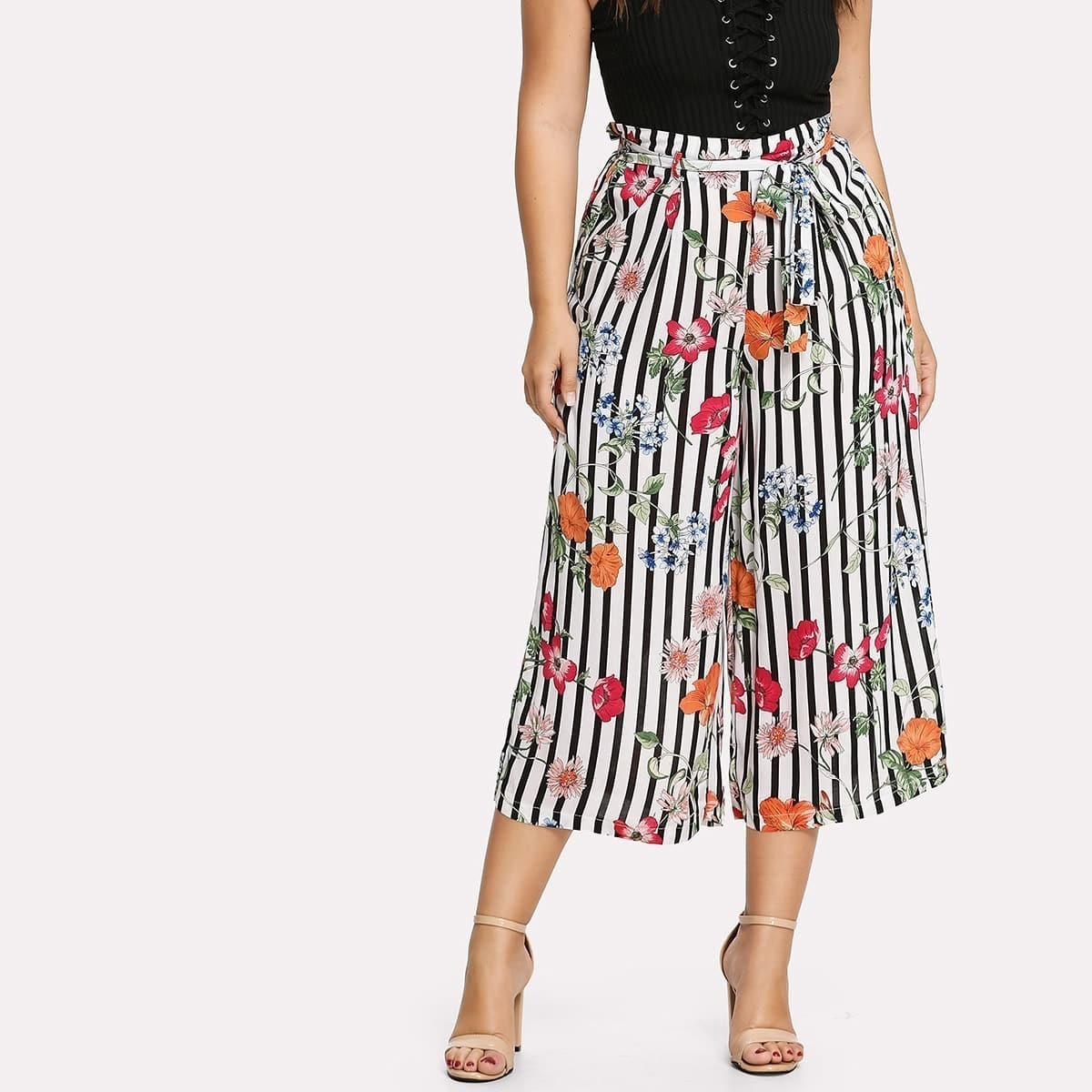 - Plus Self Belted Floral & Striped Culotte Pants