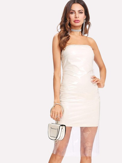 Plastic Overlay Tube Dress