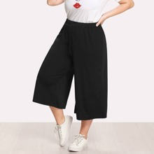 - Plus Elastic Waist Culotte Pants