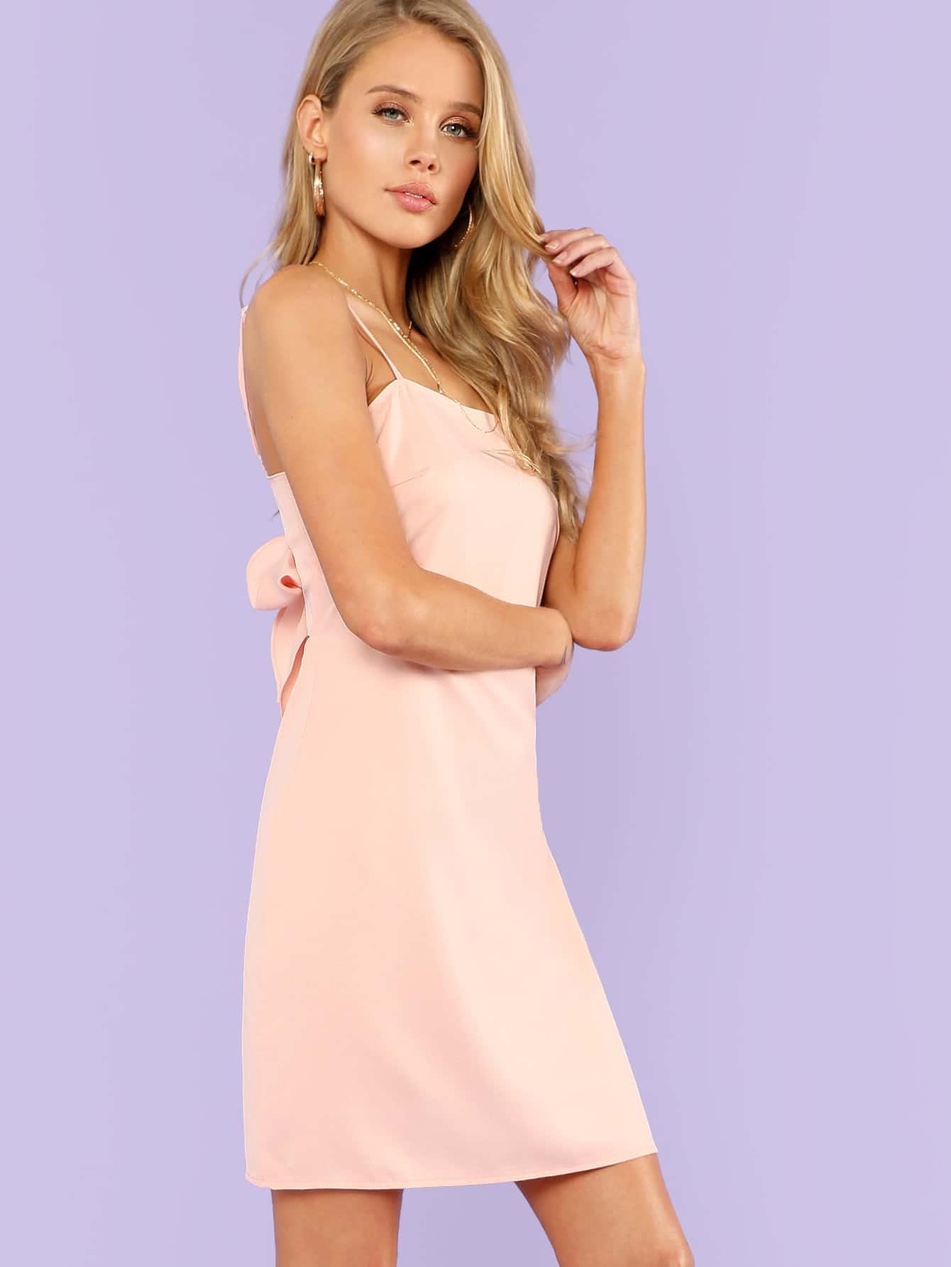 Knot Back Solid Cami Dress Shein Sheinside