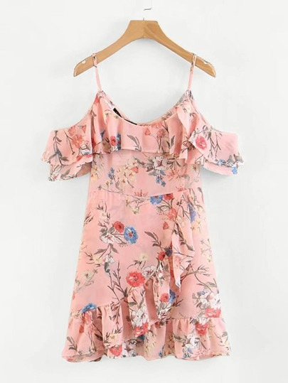 Random Florals Ruffle Trim Overlap Dress