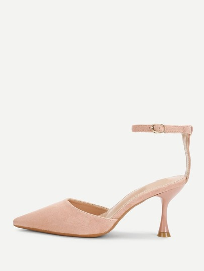 Suede Pointed Toe Mary Jane Heels