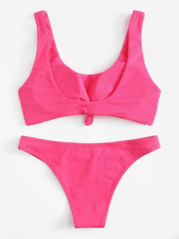 a12787a72f296 Neon Pink Knot Front Bikini Set