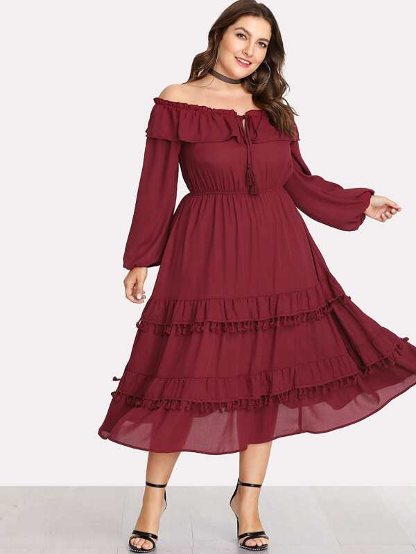 32e3db374b6 Plus Tassel And Ruffle Layered Bardot Dress -SheIn(Sheinside)