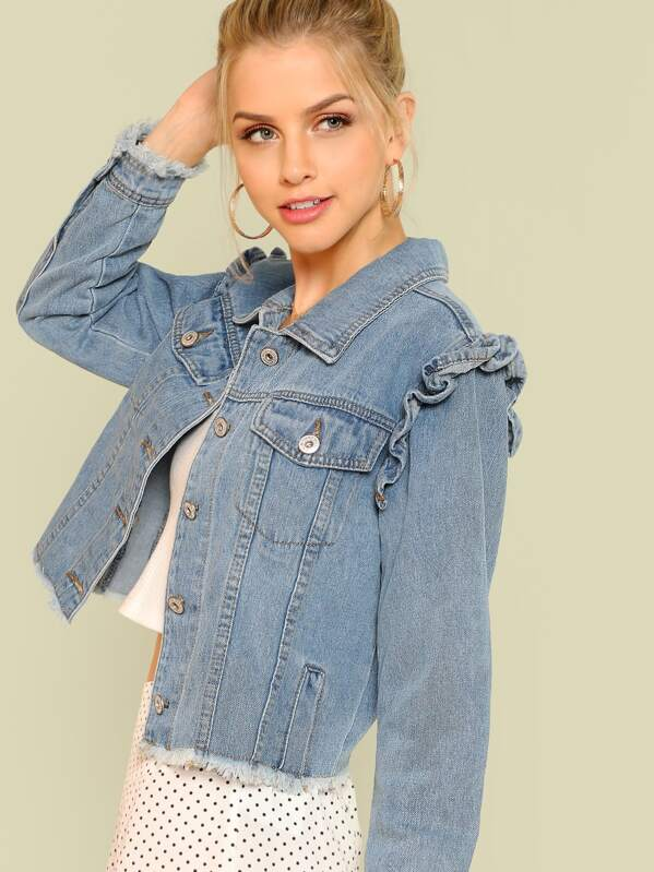 Raw Hem Denim Jacket with Frill Shoulder Trim, Blue, Marina Laswick