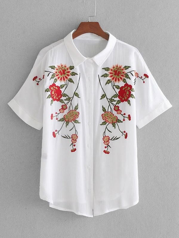 3ed8a21af Cheap Flower Embroidered Shirt for sale Australia | SHEIN