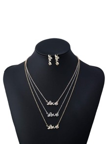 Rhinestone Layered Chain Necklace With Earrings